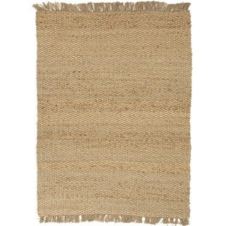 Natural Solid Hemp/ Jute Beige/ Brown Rug (3'6 x 5'6)