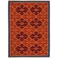 Large Handmade Flat-Weave Tribal Multicolor Wool Rug (8' x 10')