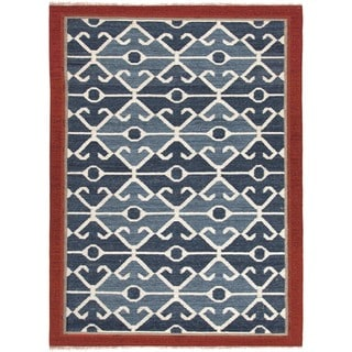 Handmade Flat-weave Tribal-pattern Multicolor Wool Rug (2' x 3')
