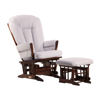 Dutailier Ultramotion Coffee/Light Grey Microfiber Two-Post Glider and Ottoman Set