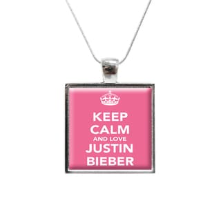 'Keep Calm and Love Justin Bieber' Glass Pendant and Necklace