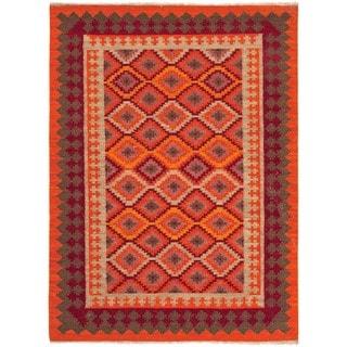 Handmade Flat Weave Tribal Multicolor Wool Rug (5' x 8')