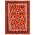 Handmade Flat-Weave Tribal Multicolor Wool Area Rug (8' x 10')