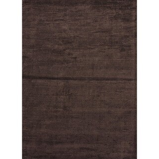 Hand-loomed Solid Beige/ Brown Wool/ Silk Rug (9' x 12')