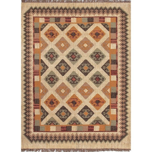 Handmade Flat-Weave Tribal Multicolor Jute Area Rug (5' x 8')