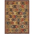 Handmade Flat Weave Tribal Multicolor Jute Rug (5&#39; x 8&#39;)