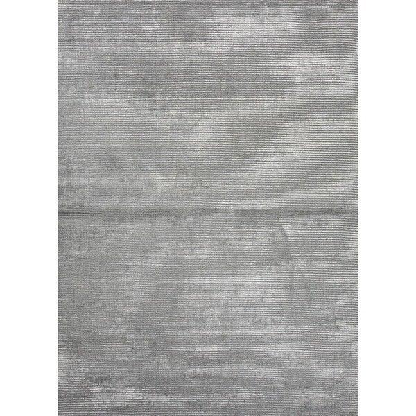 Hand-loomed Solid Blue Wool/ Silk Rug (9' x 12')