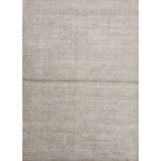 Hand-loomed Solid Grey Wool/ Silk Rug (2' x 3')