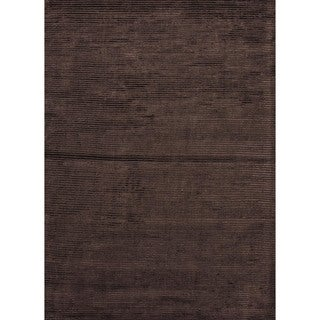 Hand-loomed Brown Wool/ Silk Rug (5' x 8')