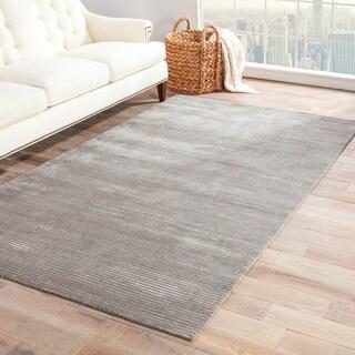 Hand-loomed Solid Grey Wool/ Silk Rug (8' x 10')