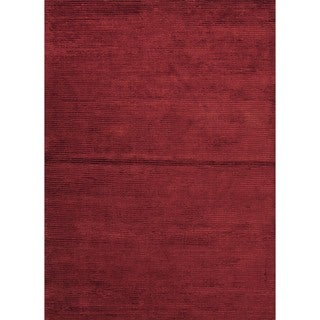 Rectangular Hand-loomed Solid Red Wool/Silk Rug (9' x 12')