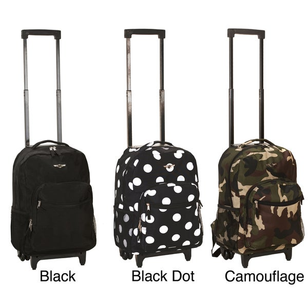 Rockland Designer Print 17-inch Rolling Carry-on Backpack