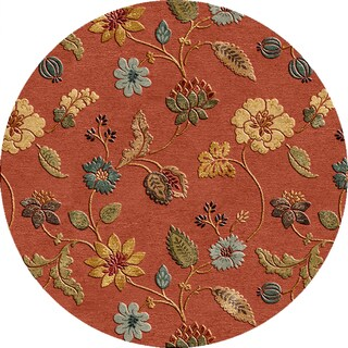 Tufted A42 Transitional Red/ Orange Wool/ Silk Round Rug (10' x 10')