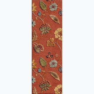 Tufted A42 Transitiona Red/ Orange Wool/ Silk Runner Rug (2'6 x 12')