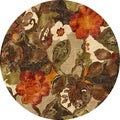 Tufted Transitional A44 Beige/ Brown Wool/ Silk Round Rug (6' x 6')