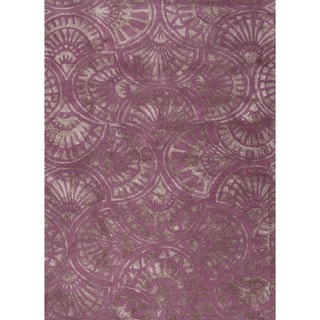 Transitional Pink/ Purple Wool/ Silk Tufted Rug (9'6 x 13'6)