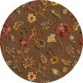 Tufted A48 Transitional Beige/ Brown Wool/ Silk Round Rug (8' x 8')