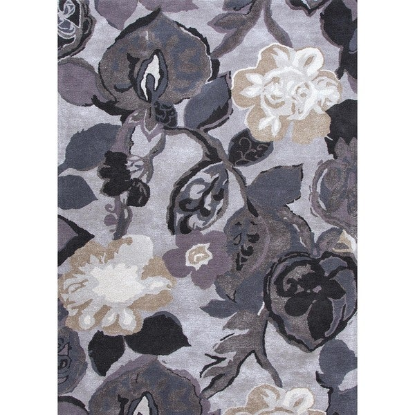 Transitional Floral Blue Wool/ Silk Tufted Rug (5' x 8')