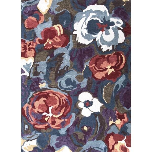 Transitional Pink/ Purple Wool/ Silk Tufted Rug (5' x 8')