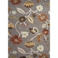 Hand-Tufted Gray Wool/Silk Area Rug (8' x 11')