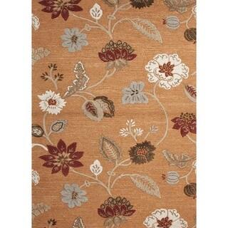 Hand-Tufted Red/Orange Wool/Silk Floral Rug (3'6 x 5'6)