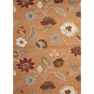 Transitional Hand-Tufted Red/Orange Wool/Silk Rug (5' x 8')