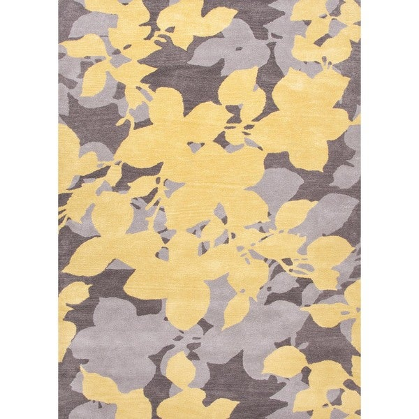 Hand-tufted Gray Floral Wool Rug (2' x 3')