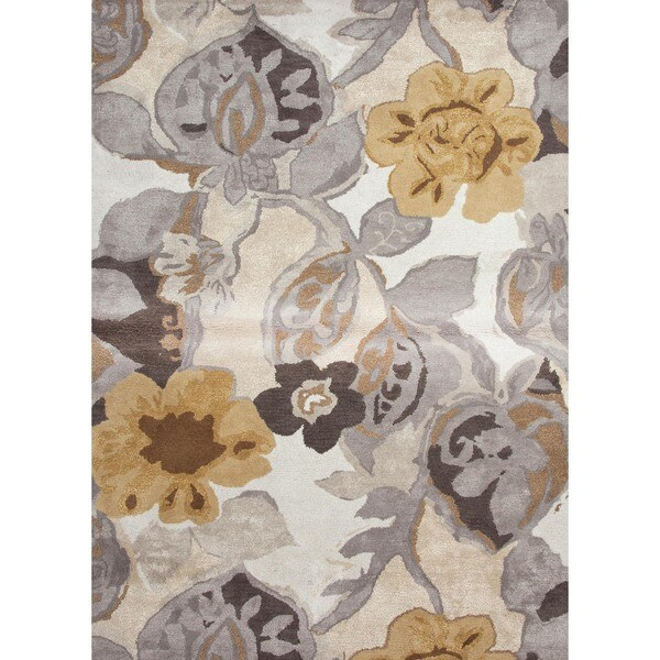 Hand-tufted Gray Wool/ Silk Rug (8' x 11')