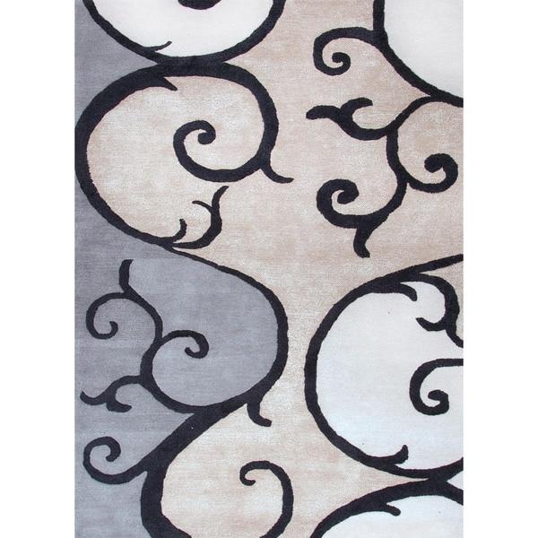 Modern Hand-tufted Gray Wool/ Silk Rug (5' x 8')