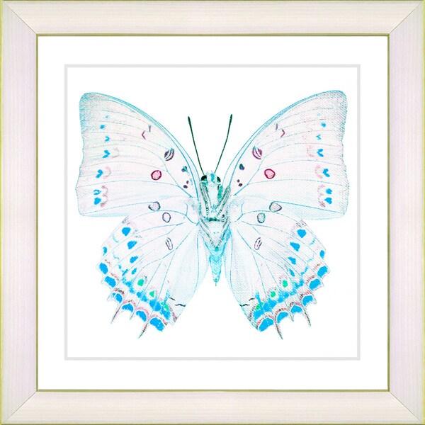 Studio Works Modern 'White Butterfly - Blue' Framed Print