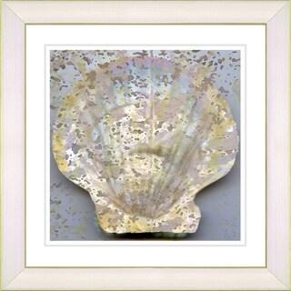 Studio Works Modern 'Yellow Sea Shell' Framed Print