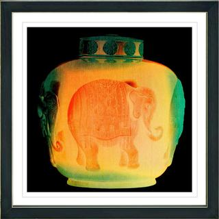 Studio Works Modern 'Orange Elephant Urn' Framed Print