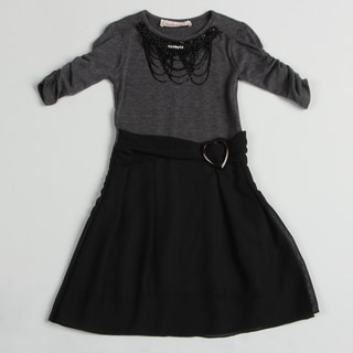 Paulinie Collection Girl's Black Necklace Applique Dress
