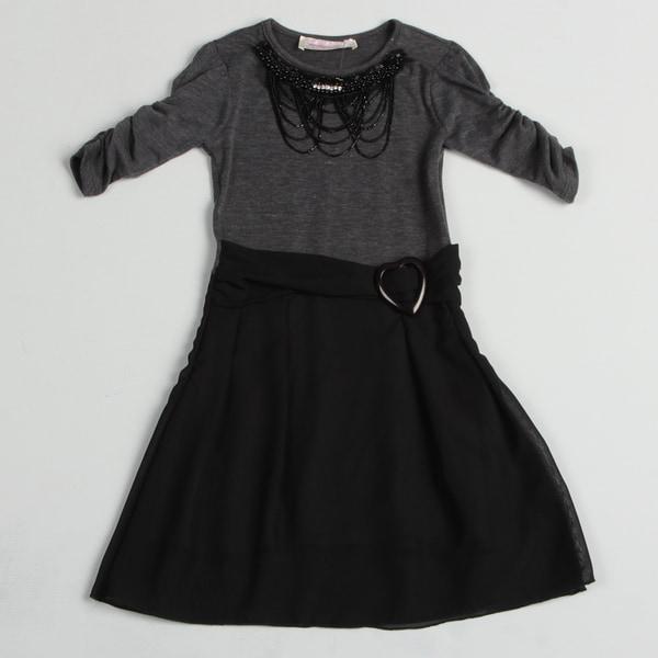 Paulinie Collection Girl's Black Necklace Applique Dress