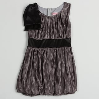 Paulinie Collection Girl's Grey Wrinkled Satin-like Dress