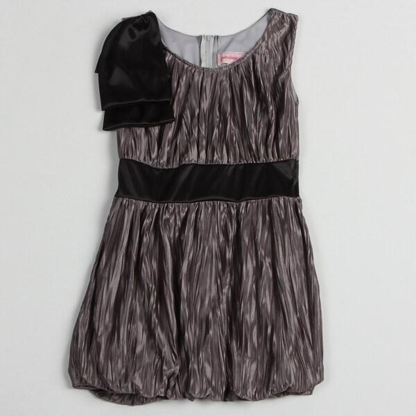 Paulinie Collection Girl's Grey Wrinkled Satin-like Dress