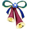 Goldtone Multi-colored Crystal Christmas Bell Brooch