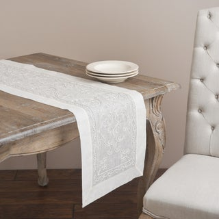 Saro 72-inch Rectangular Cord Embroidery Table Runner
