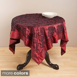 Saro 60-inch Square Embroidered Satin Table Topper