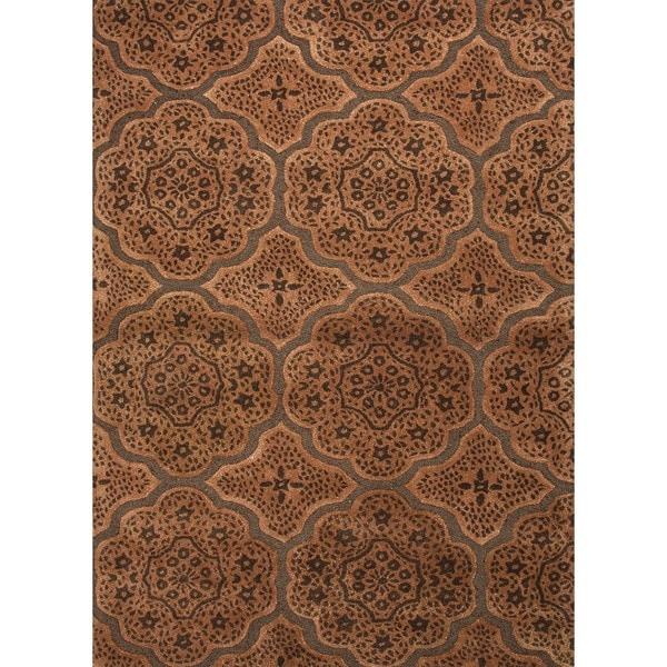 Transitional Moroccan Brown Wool/ Silk Rug (5' x 8')