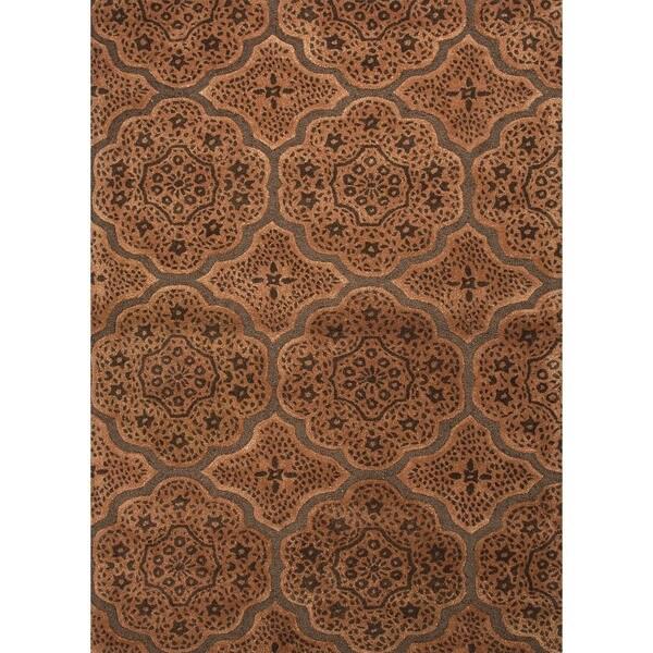 Transitional Moroccan Brown Wool/ Silk Rug (9'6 x 13'6)
