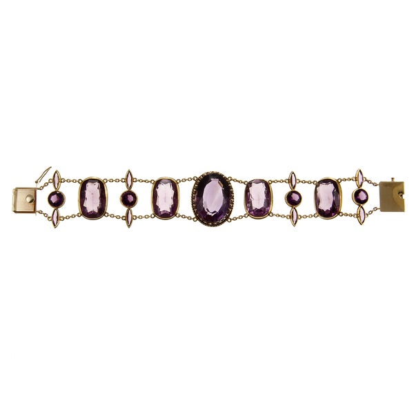Pre-owned 14k Yellow Gold 57 1/2ct TGW Amethyst Antique Estate Bracelet