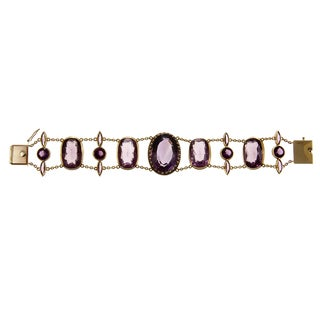 Pre-owned 14k Yellow Gold 57 1/2ct TGW Amethyst Antique Estate Bracelet