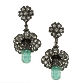 Pre-owned 14k Gold Emerald and 3ct TDW Diamond Flower Art Deco Estate Earrings (I-J, SI1-SI2)