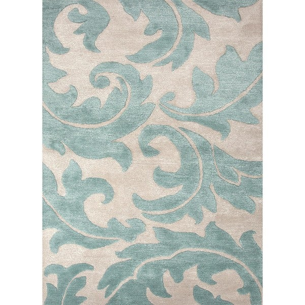 Hand-tufted Blue Floral Wool/ Silk Rug (2' x 3')