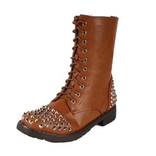Neway by Beston Women's Lace-up Combat Boots