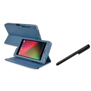 BasAcc Navy Blue Swivel Case/ Black Stylus for Google Nexus 7