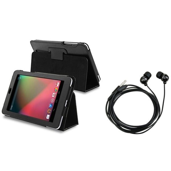 INSTEN Leather Phone Case Cover/ Headset for Google Nexus 7