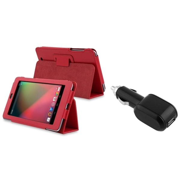BasAcc Red Leather Case/ Car Charger for Google Nexus 7