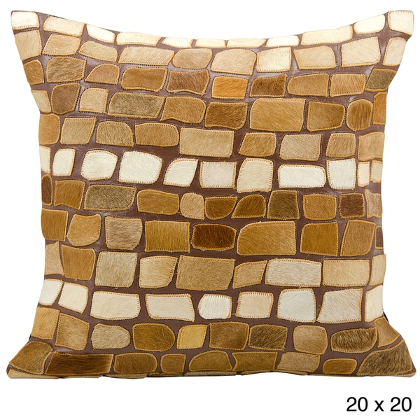 Mina Victory Cowhide Pebble Pattern Orange 20 x 20-inch Decorative Pillow by Nourison